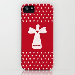 Christmas Angel with hearts on red iPhone Case