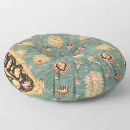 Oushak  Antique Gold Teal Turkish Rug Print Floor Pillow