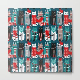 Feline Christmas vibes // dark teal background grey mint white brown and black kittens Metal Print