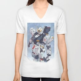 Nu Gundam watercolor Unisex V-Ausschnitt