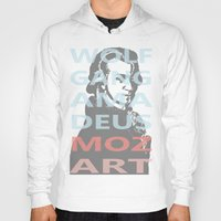 mozart Hoodies featuring Wolfgang Amadeus Mozart by César Padilla