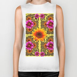 YELLOW SUNFLOWER PURPLE FLORAS CELTIC ART Biker Tank