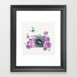 Camera with Summer Flowers 2 Framed Art Print