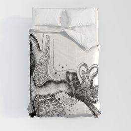 Cochlea Inner Outer Ear Black and White Comforters