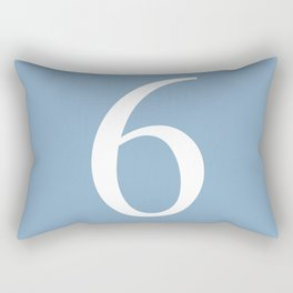 number six sign on placid blue color background Rectangular Pillow