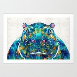 Hippopotamus Art - Happy Hippo - By Sharon Cummings Art Print