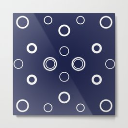 navy white circles Metal Print