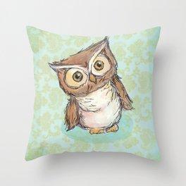 Little Brown Hoot Throw Pillow