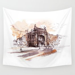 Art Nouveau building / watercolor and ink. Wall Tapestry