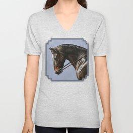 Brown Dressage Horse Unisex V-Neck