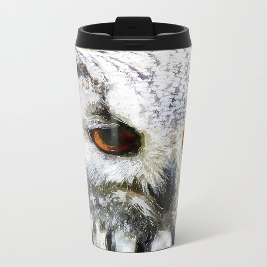 Owl  Animal Bird Watercolor Illustration Metal Travel Mug