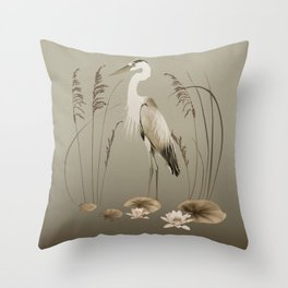 Heron and Lotus Flowers Throw Pillow