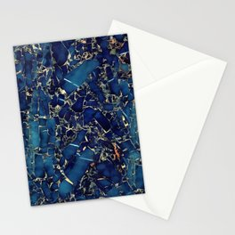 Dark blue stone marble abstract texture with gold streaks Stationery Cards
