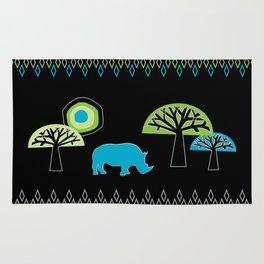 African Rhino (Cool colors) Rug