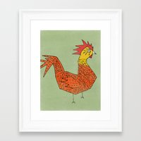 rooster Framed Art Prints featuring rooster by Matt Edward
