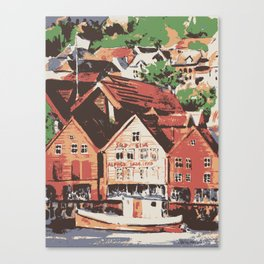 Old warf of Bergen Norway Canvas Print
