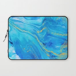 Abstract Acrylic Marble Paint Pattern Texture #1 - Blue, Gold Laptop Sleeve
