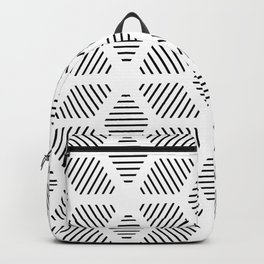 Geometric Line Lines Diamond Shape Tribal Ethnic Pattern Simple Simplistic Minimal Black and White Backpack