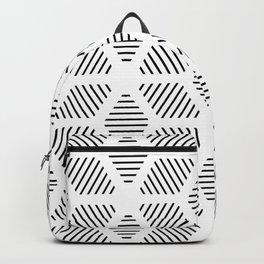 Geometric Line Lines Diamond Shape Tribal Ethnic Pattern Simple Simplistic Minimal Black and White Backpack