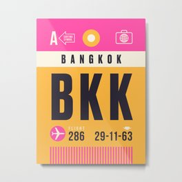 Baggage Tag A - BKK Bangkok Suvarnabhumi Thailand Metal Print