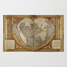Heart-shaped projection map by Oronce Fine, 16th century Rug