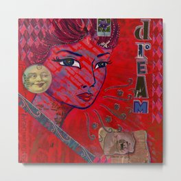 Dreamy Lady with the Moon Metal Print