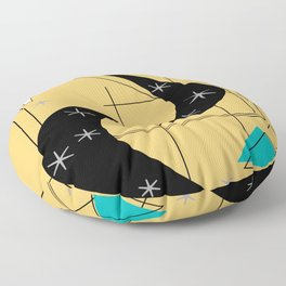 Mid-Century Boomerangs Yellow Floor Pillow