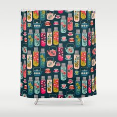 Vintage Thermos - Teacups and Teapots by Andrea Lauren Shower Curtain