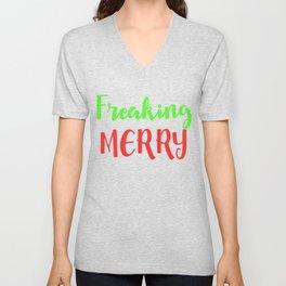Freaking Merry - Christmas Unisex V-Neck