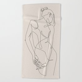 ligature - one line art - pastel Beach Towel