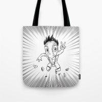 hentai Tote Bags featuring KWeb #6 : Hentai Kamen (black & white) by Adrien ADN Noterdaem
