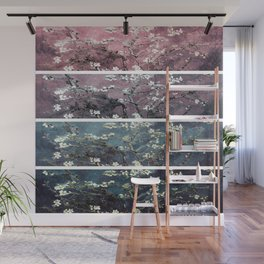 Vincent Van Gogh Almond Blossoms Panel Dark Pink Eggplant Teal Wall Mural