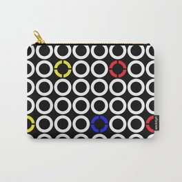 White Circles and Primary Color Rings Carry-All Pouch