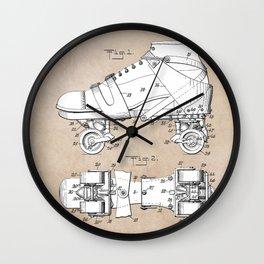 patent art Plimpton Roller Skate 1907 Wall Clock