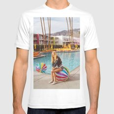 Palm Springs Pool Day V White MEDIUM Mens Fitted Tee