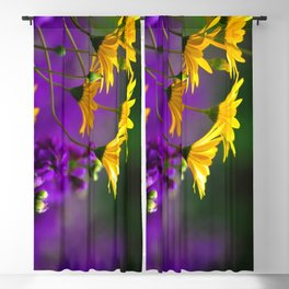 Yellow and Purple Flowers Blackout Curtain