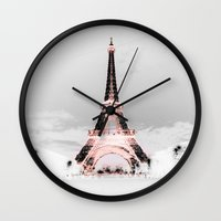 blankets Wall Clocks featuring pariS Black & White + Pink by 2sweet4words Designs