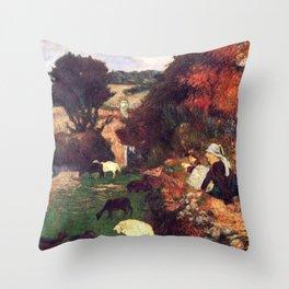 "Paul Gauguin - The Breton shepherdess ""La bergère bretonne"" (1886) Throw Pillow"