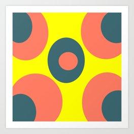 pattern coral yellow blue Art Print