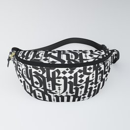 typography pattern 4 - seamless   calligraphy design - black and white Fanny Pack