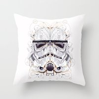 stormtrooper Throw Pillows featuring stormtrooper by yoaz
