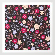 Flowers and Vines Pattern Art Print