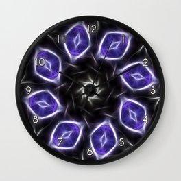 Blue Purple Black Kaleidoscope 3 Wall Clock