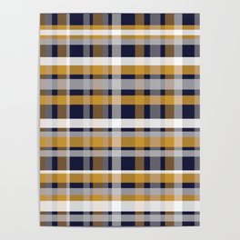 Modern Retro Plaid in Mustard Yellow, White, Navy Blue, and Grey Poster