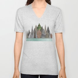 Textured Mountain Range in Minty Waters Unisex V-Neck