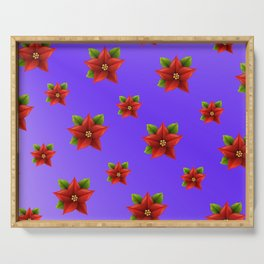 Red Flowers Pattern 3 Serving Tray