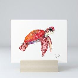 Turtle Children Animal design Red, pink Orange cute turtle Mini Art Print