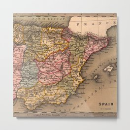 vintage map of spain Metal Print