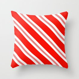 Candy Cane Stripes Holiday Pattern Throw Pillow