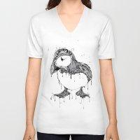 puffin V-neck T-shirts featuring Hawt Puffin by Gwyn Hockridge